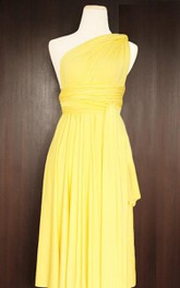 Short Yellow Infinity Multiway Convertible Wrap Wedding Maid Of Honor Dress
