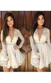 A-line Plunging Neckline Scalloped Long Sleeve Beading Ruffles Short Mini Lace Homecoming Dress
