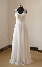 Destination A-Line V-Neck Sleeveless Chiffon Wedding Dress With Lace Bodice