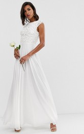 Ethereal Chiffon and Lace Sheath Cap Sleeve Wedding Dress