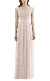 V-neck Ruched Sequin Long Bridesmaid Dress with Tulle