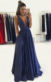 A-line V-neck Sleeveless Floor Length Taffeta Dress Online