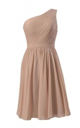 Simplistic One-shoulder Pleated Chiffon A-line Dress
