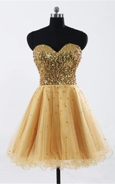 Glamorous Sweetheart Sleeveless Short Homecoming Dress With Sequins