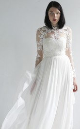 High Neck Long Sleeve Illusion Lace And Chiffon Wedding Gown