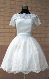 Scalloped Short Satin Wedding Dress With Sash And Illusion Sleeve