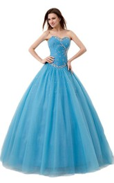 Sweetheart A-line Ballgown With Sequined Waistline