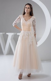 Deep-V-Neck Lace Half-Sleeve Ankle-Length Dress with Pleats