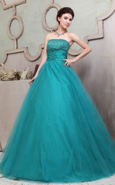 A-Line Strapless Floral Ball Gown With Ruffles And Crystal Detailing