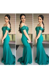 Off Shoulder Sequin Turquoise Evening Long Mermaid Party Dress