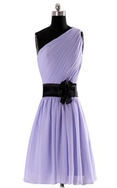 One-shoulder A-line Chiffon Dress With Floral Sash