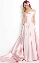 A-Line Floor-Length Off-The-Shoulder Satin Prom Dress