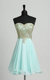 Sheath Strapless Sweetheart Chiffon Sexy Short Mini Sleeveless Open Back Zipper Dress with Beading Sequins