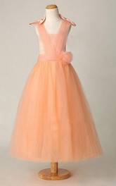 Sleeveless V-neck Pleated Tulle Dress With Flower Belt