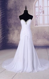 Sweetheart Chiffon Dress With Beading And Court Train