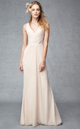 Maxi Ruched V-Neck Sleeveless Chiffon Bridesmaid Dress