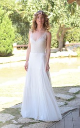 Plunged Sleeveless Chiffon Wedding Dress With Lace And Deep-V Back