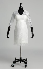 Knee-length A-line V-neck Illusion 3/4 Length Sleeve Illusion Lace Maternity Weeding Dress