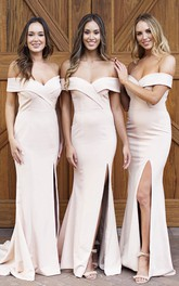 Front Split Sexy Elegant Off-the-shoulder Trumpt Bridesmaid Dress With Cross Criss