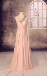 One-shoulder Empire Chiffon Dress With Beading