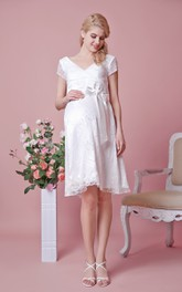 V-neck A-line Knee Length Lace Maternity Wedding Dress With Belt