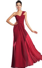 One-shoulder Criss-cross Ruched Chiffon Gown