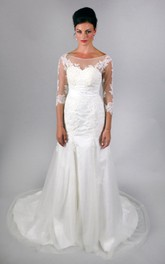 Vintage Embroidery Lace Wedding Dress With Half Illusion Sleeves