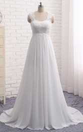 A-line Empire Elegant Queen Anne Lace Chiffon Bridal Dress With Key Hole And Lace-up
