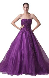 Sweetheart Ballgown With Sequins and Pleats