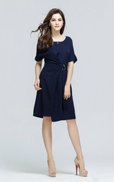 Navy Half Sleeve Scoop Midi Dress with Belt