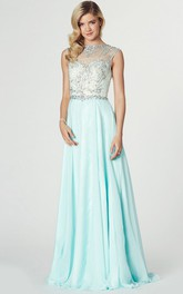 Maxi Sleeveless Beaded Jewel Neck Chiffon Prom Dress