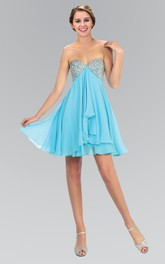 A-Line Mini Sweetheart Empire Chiffon Backless Dress With Beading And Draping