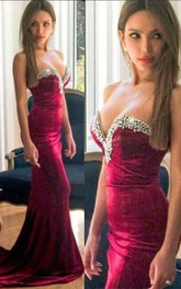 Beautiful Sweetheart Burgundy 2018 Evening Dress Mermaid With Beadings