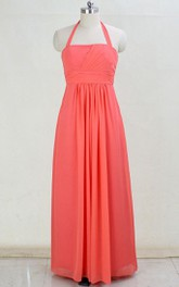 Coral Long Strapless Halter Chiffon Dress