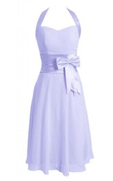 Tea-length Halter A-line Dress With Bow and Band