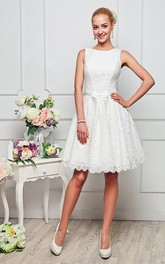 A-line Knee-length High Neck Sleeveless Lace Zipper Dress