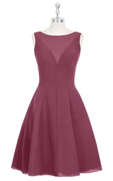 Chiffon Sleeveless Knee Length A-Line Dress With Bateau Neckline