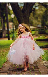 Light Pink Sleeveless Flower Bodice Tulle Flower Girl Dress