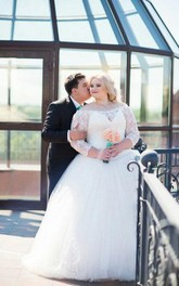 Plus Size Off Shoulder Tulle and Lace A-Line Wedding Dress