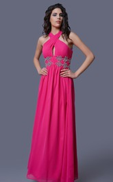 Sleeveless Chiffon A-Line Dress With Beaded Appliques and Illusion Back