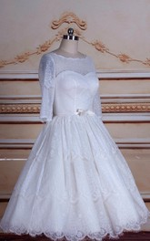 A-Line Tea-Length 3-4 Sleeve Tulle Lace Satin Dress With Button