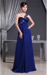 One-Shoulder Ruched Chiffon Floor-Length Dress with Flower