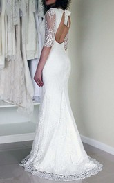 Chiffon Satin Lace Zipper Wedding Dress