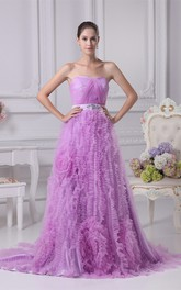 Strapless Ruched A-Line Gown with Ruffles and Broach