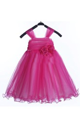 Strapped Ruffled A-line Tulle Dress With Ruching and Flower