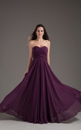 chiffon criss-cross maxi sweetheart dress with corset back and pleats