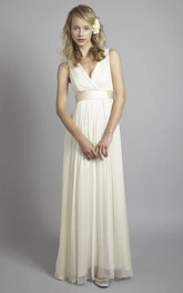 Plunging Chiffon Sleeveless Criss Cross Empire Wedding Gown With Low V-back