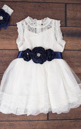 Boho Chic Country Couture Style Lace Short Dress With Flower Belt