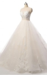 Ball Gown Court Train Lace Organza Weddig Dress