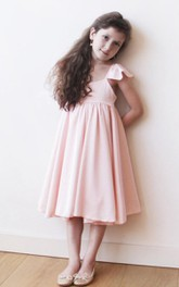 Ruffled Short Sleeve A-line Pleated Satin Dress With Empire Waist